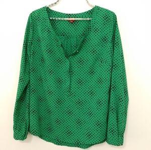 MERONA Blouse Green with Black Diamonds Size M